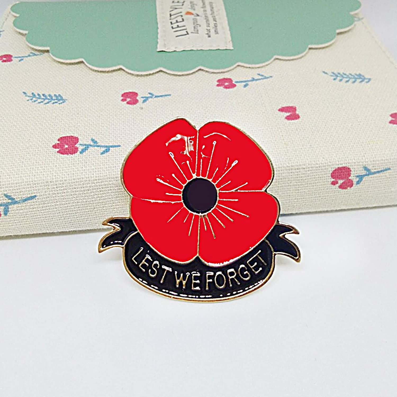 Masn Veterans Day Remembrance Day Memorial Day Gift Poppy Brooch