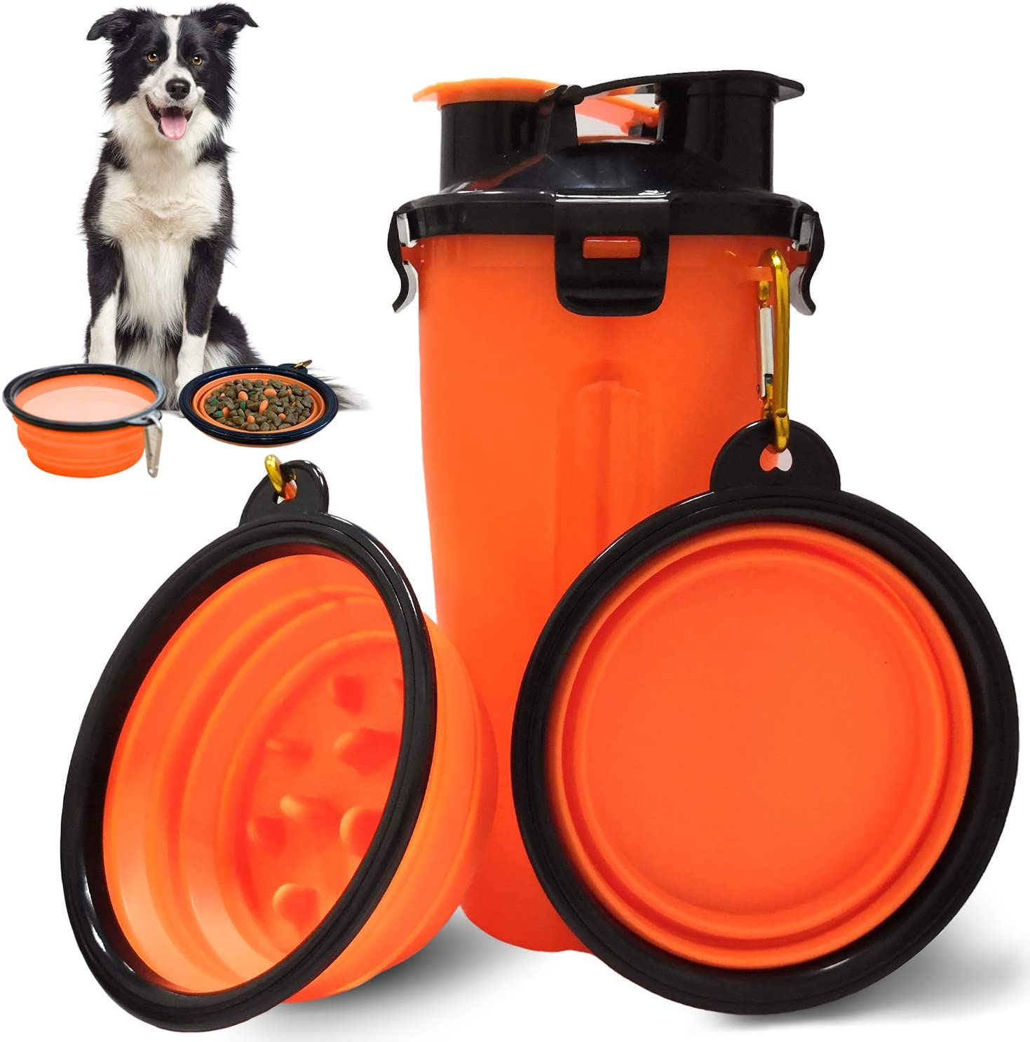 Dog Water Bowls Dog Travel Water Bottle Portable Dog Water Dispenser and Food Container Outdoor Leak-Proof Cup with 2 Collapsible Dog Bowls for Walking HikingTravelling Camping