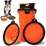Dog Water Bowls Dog Travel Water Bottle Portable Dog Water Dispenser and Food Container Outdoor Leak-Proof Cup with 2…