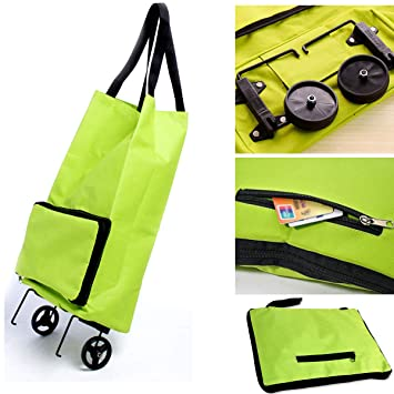 Carrito de la compra plegable para mujer, con ruedas dobles, para equipaje, hombro, carro de mano, portátil, incluye bolsa de viaje plegable: Amazon.es: ...
