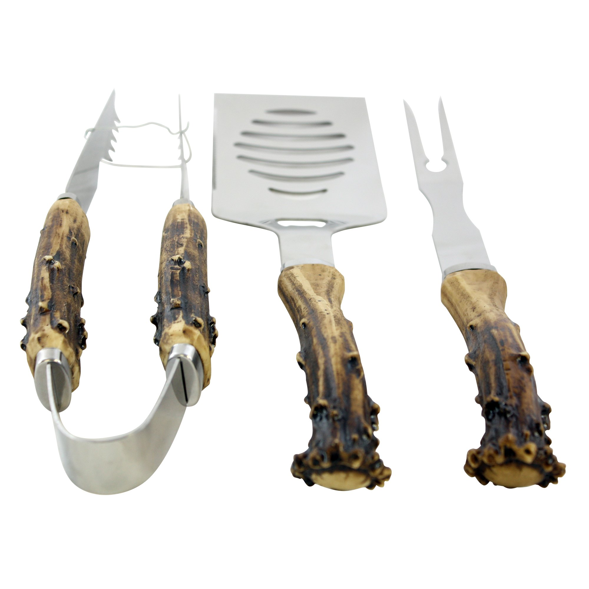 Pine Ridge Antler Handle Grilling Set for BBQ Outdoors Style Cooking and Grill, 3 Piece by Pine Ridge