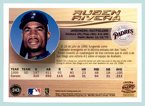 Amazon.com: 2000 Pacific Crown Collection #243 Ruben Rivera san diego padres: Sports Collectibles