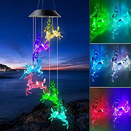 Amazon Com Shangtianfeng Christmas Elk Solar Wind Chimes Outdoor Gardening Gifts For Mom Unique Birthday Gifts For Women Who Has Everything Mother Gifts Gifts For Girlfriend Valentine Gifts For Wife Garden