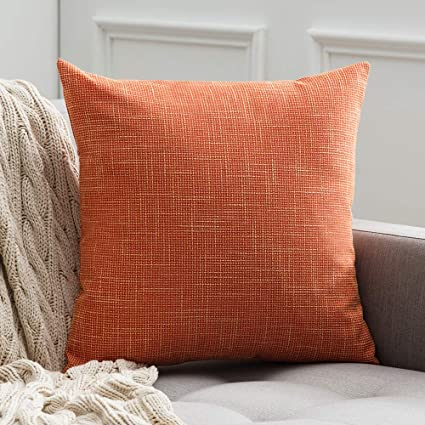 MIULEE Decorative Square Throw Pillow Covers Farmhouse Style Linen Cushion Cases Vintage Decor Orange Pillow Cases for Couch Sofa Bedroom Car 24 x 24 ...