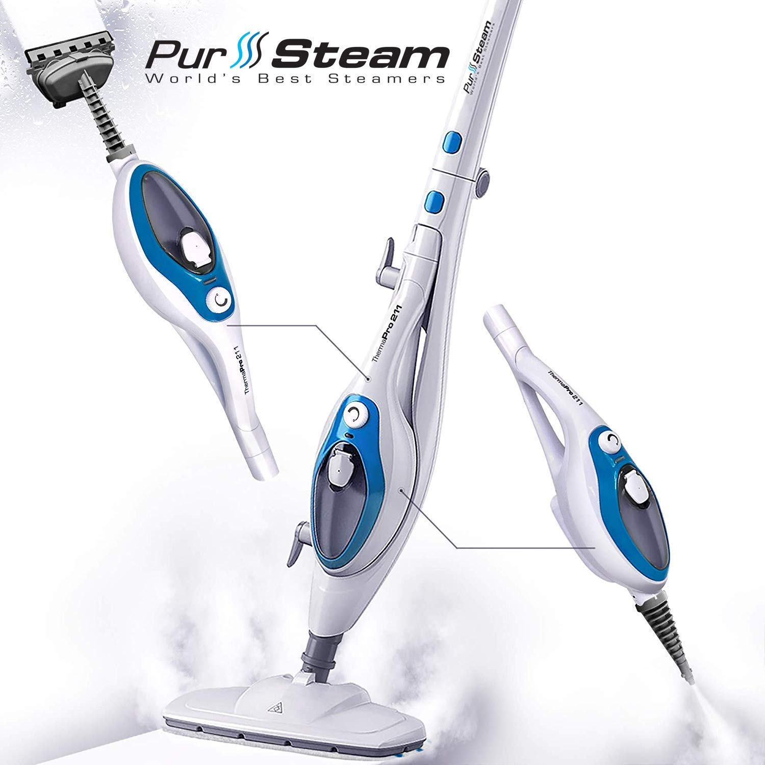 Steam Mop Cleaner ThermaPro 10-in-1 with Convenient Detachable Handheld Unit, Laminate/Hardwood/Tiles/Carpet Kitchen - Garment - Clothes - Pet Friendly Steamer Whole House Multipurpose Use by PurSteam by PurSteam World's Best Steamers
