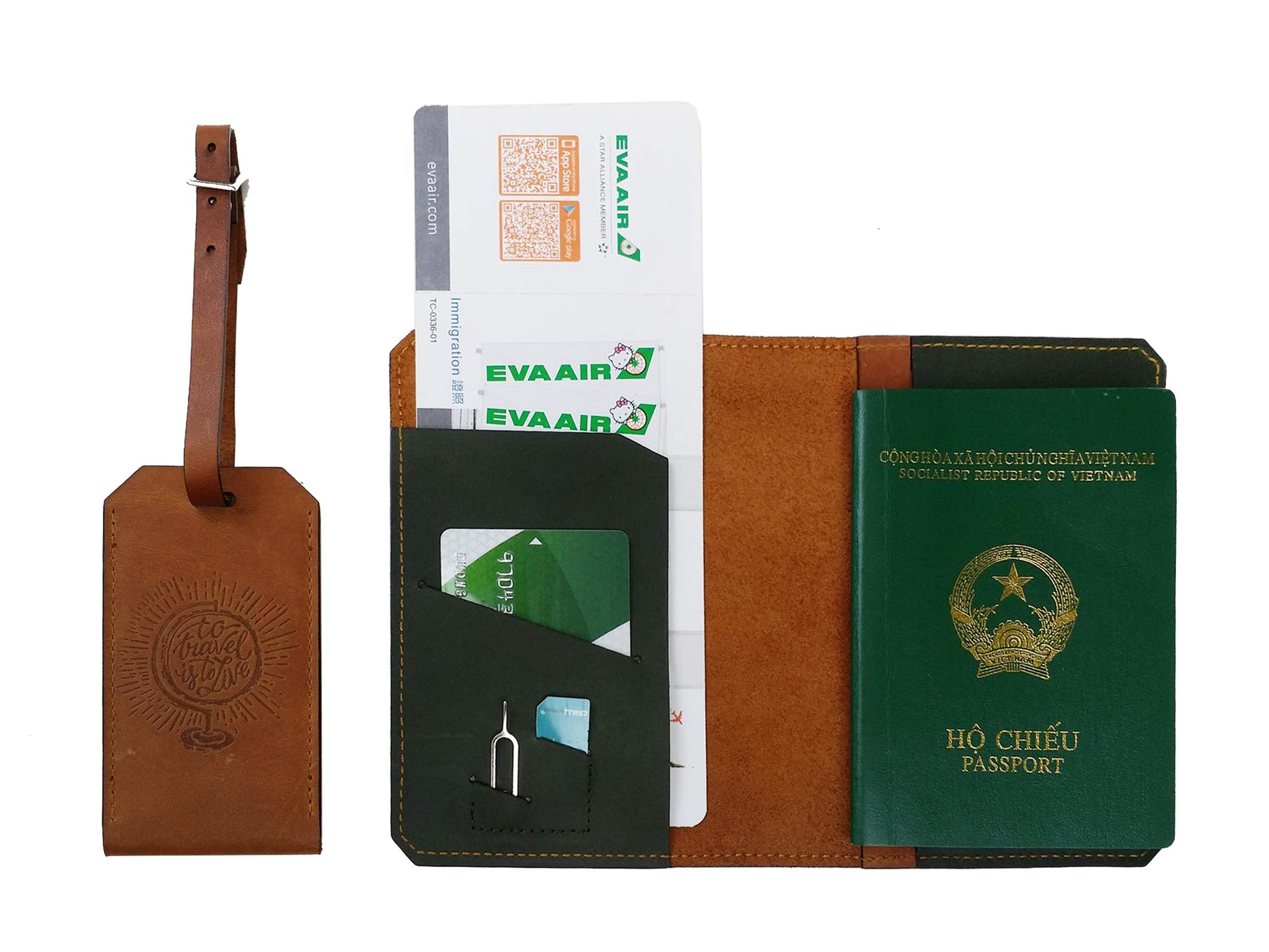 Handmade Curious Leather Travel Set – Passport Cover Luggage Tag – SIM Card Eject Pin Tool Included (to Travel is to Live)