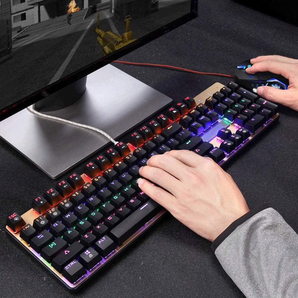 Color : Black Mixed Light, Size : Green axis Lzth LED Backlit Keyboard and Mouse Combination Wired Machine and Blue Switch Keyboard for E-Sports