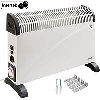 Arebos elektrische Konvektor Heizung / 2000 Watt/Thermostat/Frostwächter-Funktion/Mit Standfüßen oder zur Wandmontage/GS geprüft von Intertek (Mit Zeitschaltuhr und Gebläse)