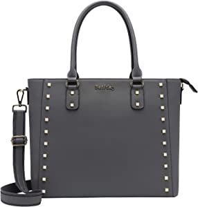 15.6 Inch Laptop Bag for Women, Multi-Pocket Laptop Shoulder Bag Work Tote Bag Briefcase for Work Business Travel School (3-Gray)
