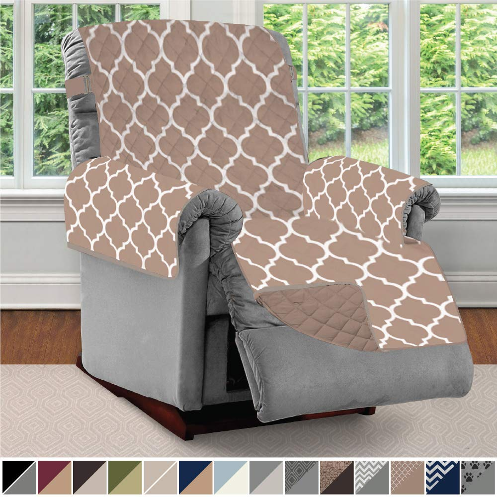 Sofa Shield Original Patent Pending Reversible Recliner Slipcover, 2 Inch Strap Hook Seat Width Up to 28 Inch Washable Furniture Protector, Slip Cover Throw for Pets, Kids, Recliner, Quatrefoil Mocha