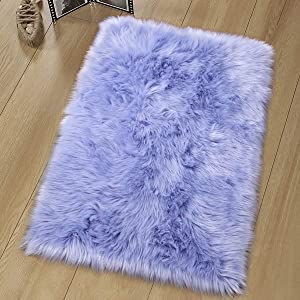 Noahas Luxury Fluffy Rugs Bedroom Furry Carpet Bedside Faux Fur Sheepskin Area Rugs Children Play Princess Room Decor Rug, 2ft x 3ft, Lavender
