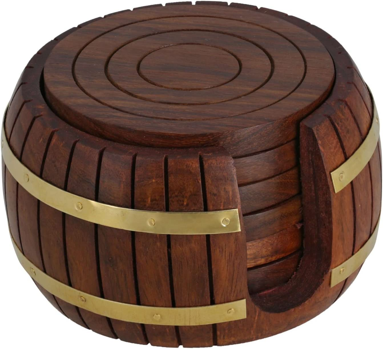 Handmade Barrel Shaped Wooden Tea Coaster - Set of 6 Drink Coaster Suitable for Wine Glasses, Beer Bottles, Whiskey Glasses and Any Hot and Cold Drinks