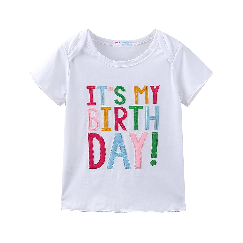 Mud Kingdom Little Girls Birthday Gifts 5 Year T-Shirt Skirt Clothes Set Rainbow 5T by Mud Kingdom (Image #2)