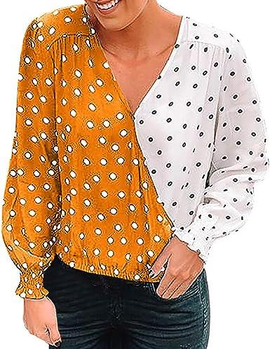Sylar Camisetas De Manga Larga para Mujer Camisetas De Estampado Lunares con Cuello En V Camisas Mujer Blusa Moda Patchwork Casual para Mujer Tops Blusa Mujer Elegante Manga Larga: Amazon.es: Ropa y