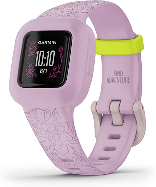 Swim-Friendly Garmin vivofit jr Lilac Floral Up To 1-year Battery Life 3 Fitness Tracker for Kids Includes Interactive App Experience