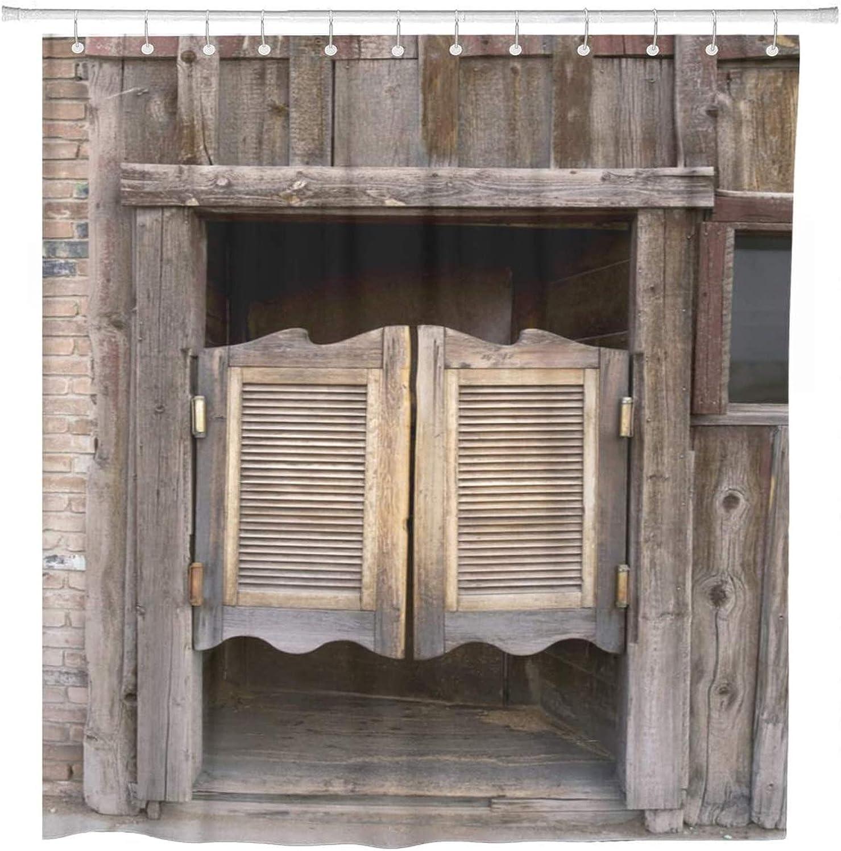 60 X 72 Tenda per doccia West Old Western Porte a battente per saloni Bar Legno selvaggio Decorazioni per la casa per il bagno Tessuto in poliestere Resistente alla muffa Set impermeabile con ganci