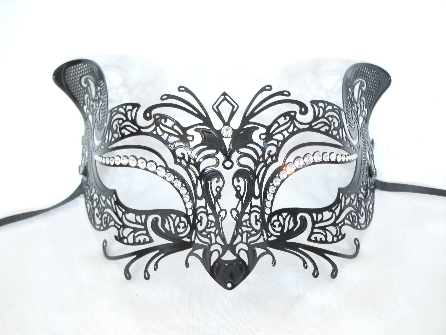 Black Laser Cut Metal Authentic Venetian Cat Masquerade Mask