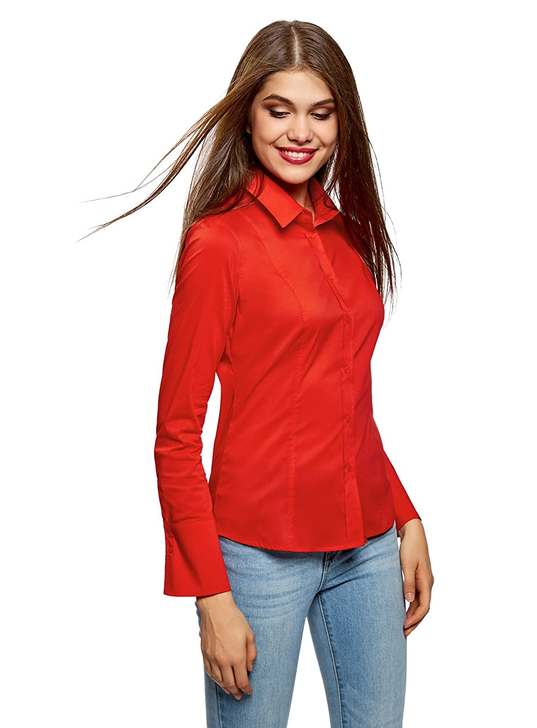 oodji Collection Donna Camicetta Basic in Cotone