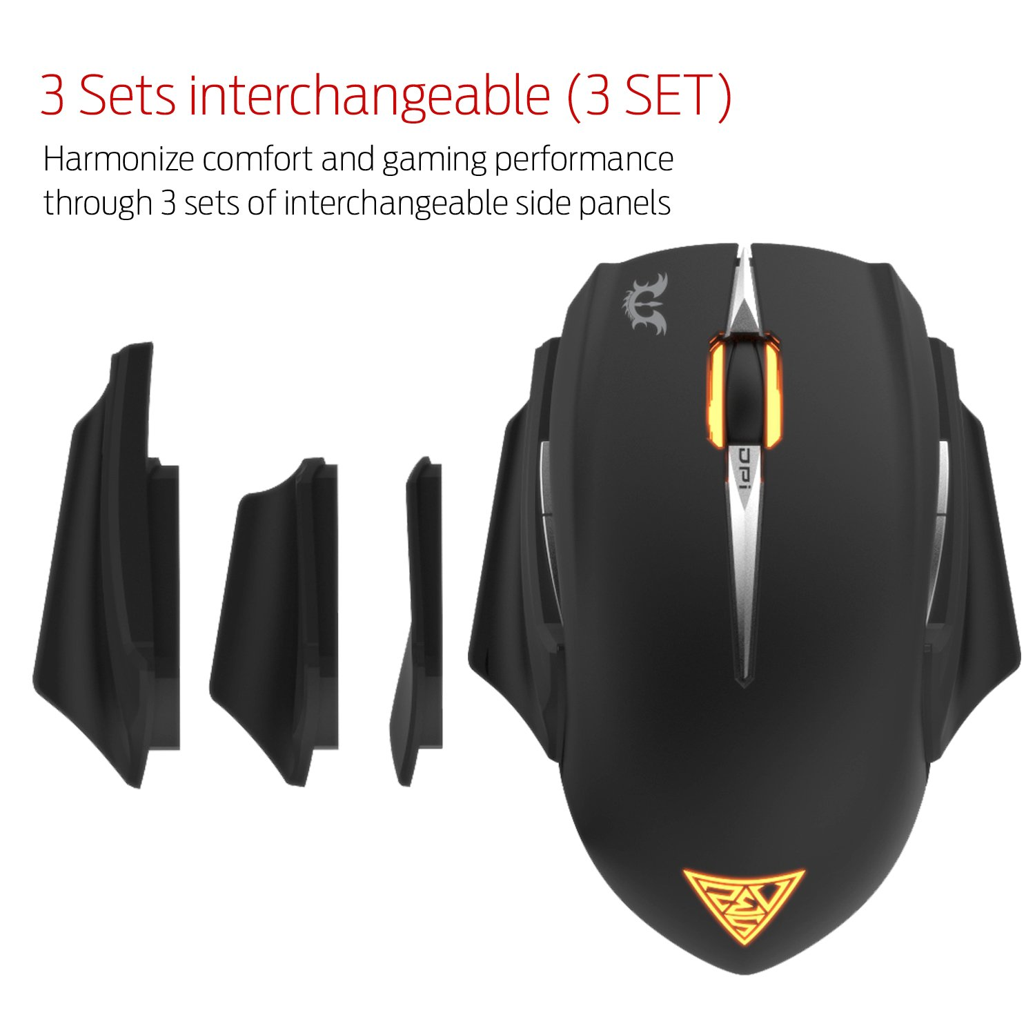 GAMDIAS Erebos GMS7500 Optical MOBA Gaming Mouse, 3 Set Ambidextrous  Adjustable Side Panels Weight System, 7 Programmable Buttons, 8200 DPI for PC by GAMDIAS (Image #7)