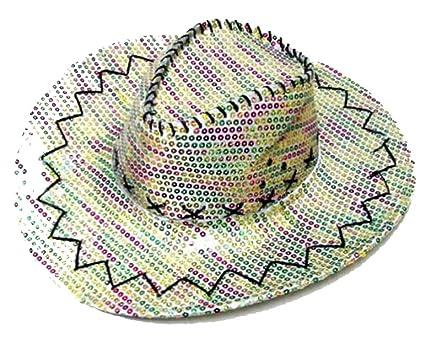 a0b7749fe Amazon.com : New Sparkley Rainbow Sequin Cowboy Hat with Multi ...