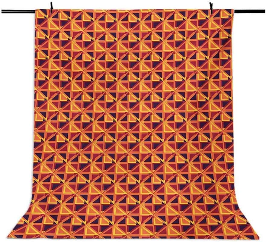 6.5x10 FT Backdrop Photographers,Triangles and Rhombuses with Warm Colors Retro Inspirations Abstract Illustration Background for Photography Kids Adult Photo Booth Video Shoot Vinyl Studio Props