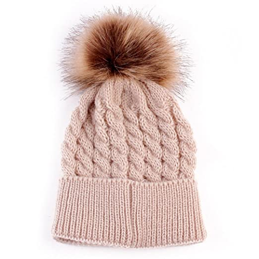 Amiley Toddler Baby Hat Fur Knitted Wool Beanie Warm Cap Hats with Pom Pom ( Beige 81a7af66b46