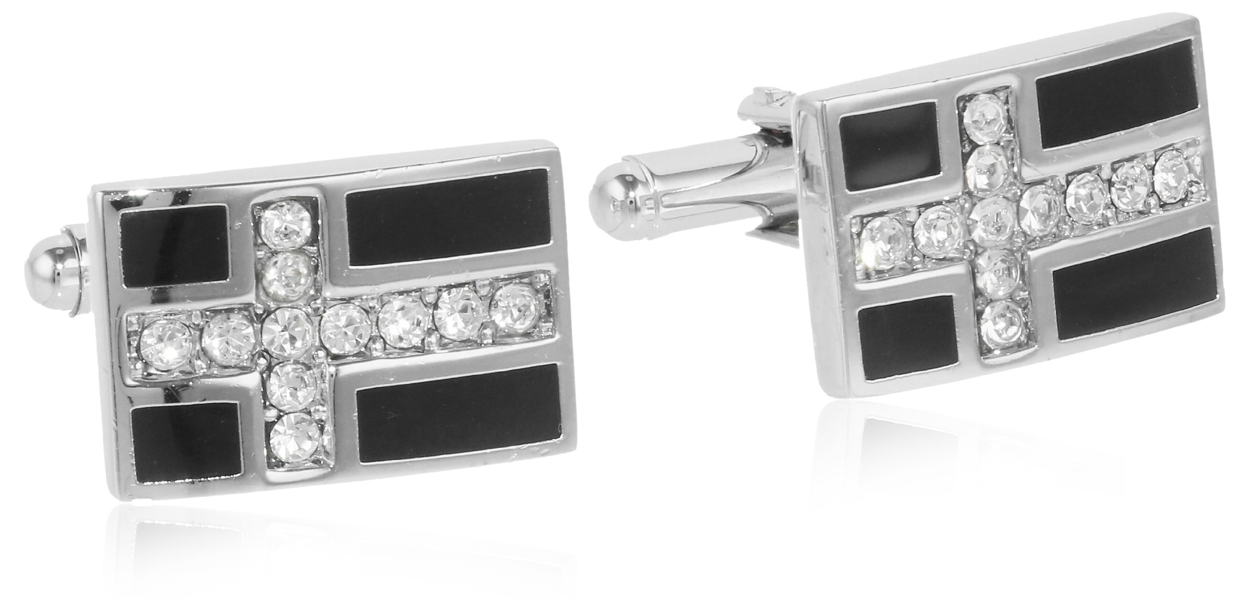 Stacy Adams Men's Crystal and Jet Cuff Link, Silver, One Size