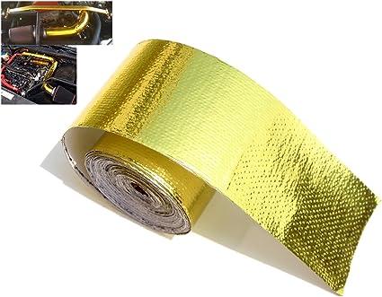 "24/"" x 24/"" Self Adhesive Reflective Gold High Temperature Heat Shield Wrap Tape"