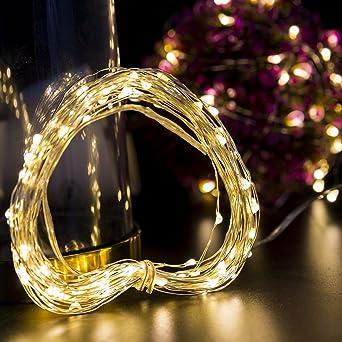 Weihnachtsbeleuchtung Akku.Loende Weihnachtsbeleuchtung Lichterkette Batterie Betrieben 100 Led 10 5m 4aa Batterie Nicht Enthalten Warmweiß Dimbare Kupferdraht Wasserdicht