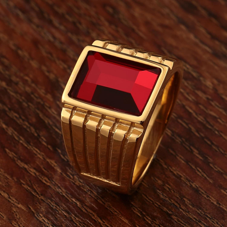 Epinki Bague Anneaux pour Homme Haut Poli Rectangle Noir Rouge Zircone cubique 15MM Bague pour Anniversaire Mariage