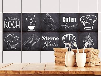GRAZDesign Fliesenaufkleber Anthrazit mit Spruch Guten Appetit für Küche |  alte Küchen-Fliesen überkleben | Fliesenbild selbst gestalten (10x10cm ...