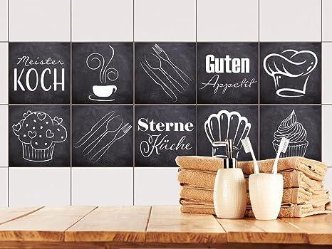 GRAZDesign Fliesenaufkleber Anthrazit mit Spruch Guten Appetit für Küche |  alte Küchen-Fliesen überkleben | Fliesenbild selbst gestalten (10x10cm //  ...
