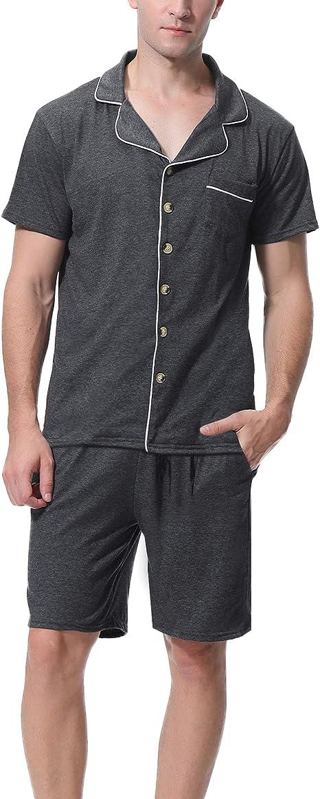 Aibrou Pijama Hombre Verano Corto Algodón Set, Pijama Casual ...
