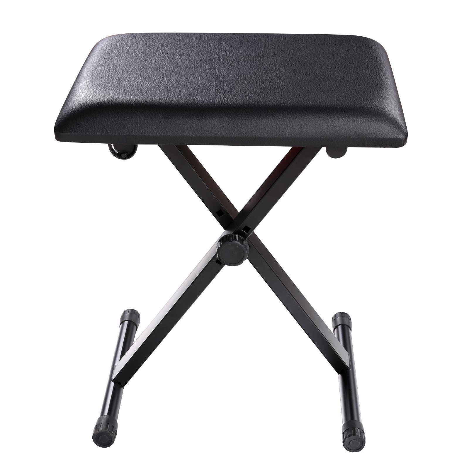 Dtemple Piano Bench Padded Keyboard Bench X-Style Adjustable Bench Folding Stool Piano Chair