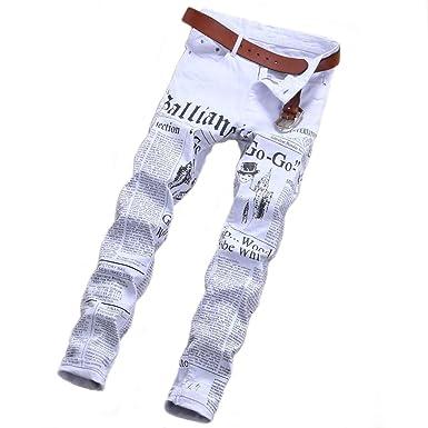 f14164ab1a0f CHFYI Männer Weiße Persönlichkeit Jeans Mittlere Taille Gerade Jeans Ohne  Gürtel,White-29