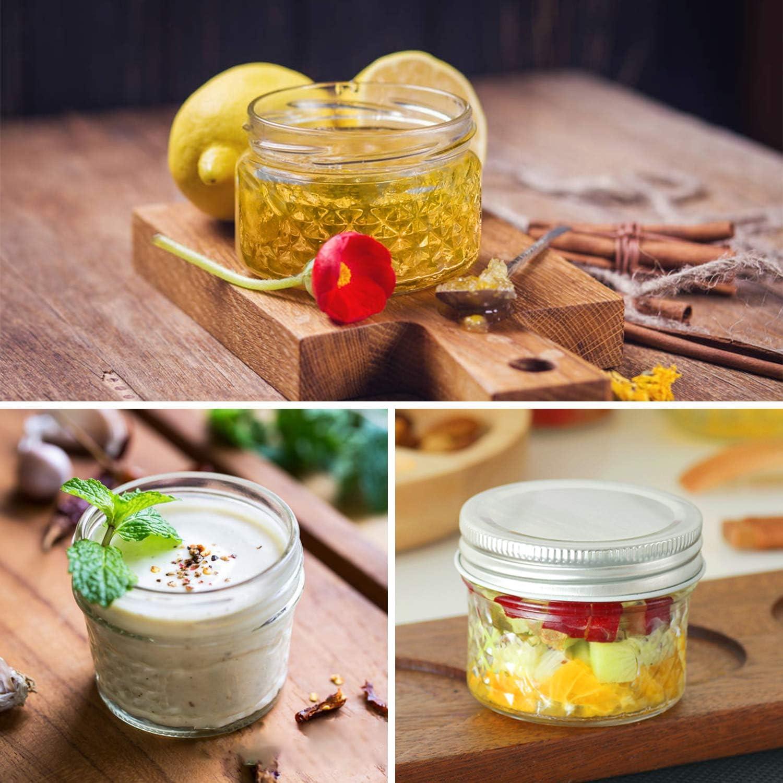 Shower Favors Mason Jars Canning Jars 4 OZ x 4 12 Pack Glass Jars Jelly Jars With Regular Lids DIY Magnetic Spice Jars Wedding Favors 12 OZ x 4 8 OZ x 4 Honey Baby Foods Ideal for Jam