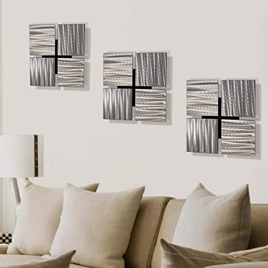 Amazon Com Statements2000 Silver Metal Wall Art Modern Wall Art Decor 12 X 12 Set Of 3 Wall Hangings By Jon Allen Metal Art 3 Of A Kind Home Kitchen