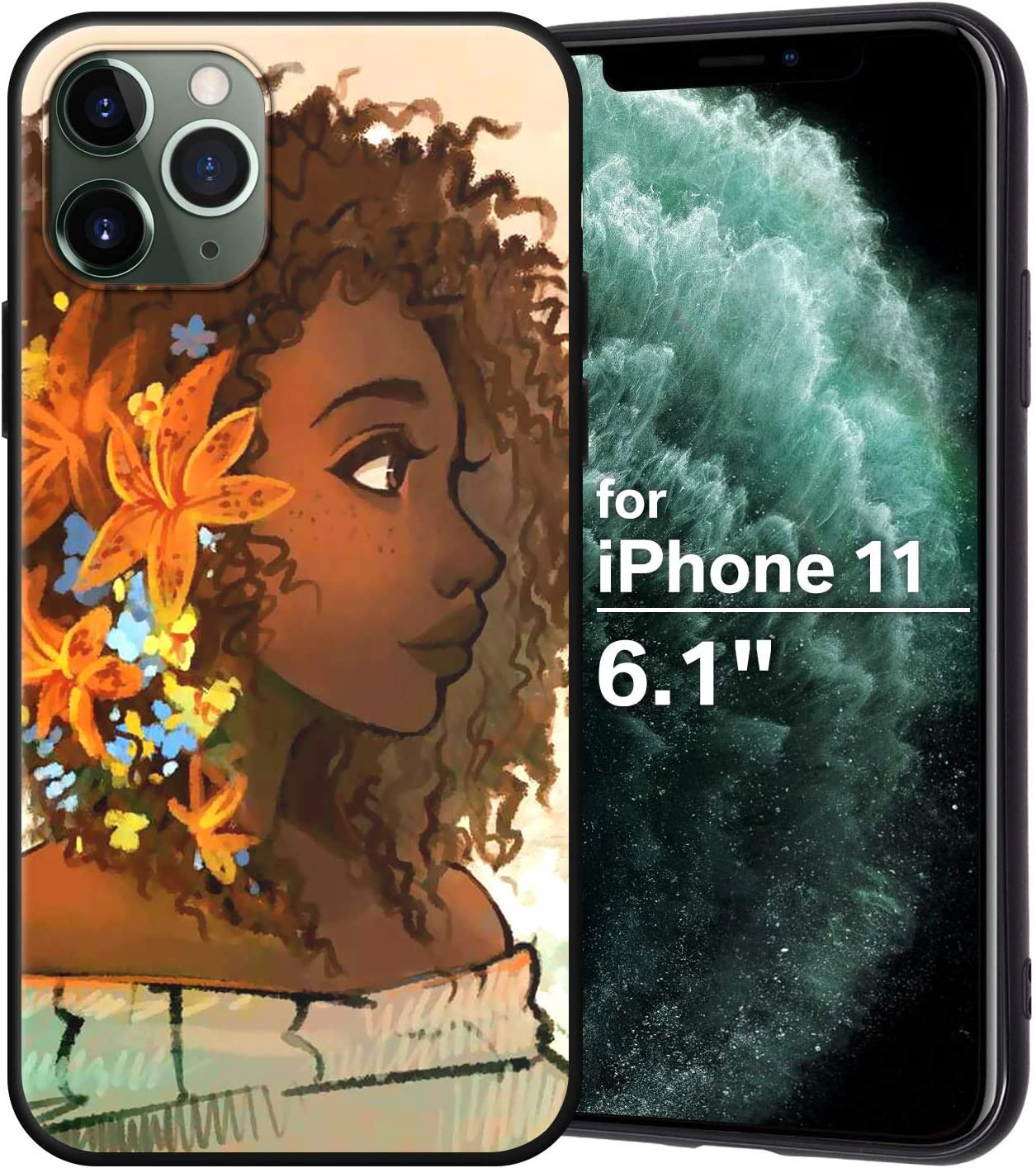 XIX iPhone 11 Case African American Afro Girls Women Slim Fit Shockproof Bumper Cell Phone Accessories Thin Soft Black TPU Protective Apple iPhone 11 Cases (07)
