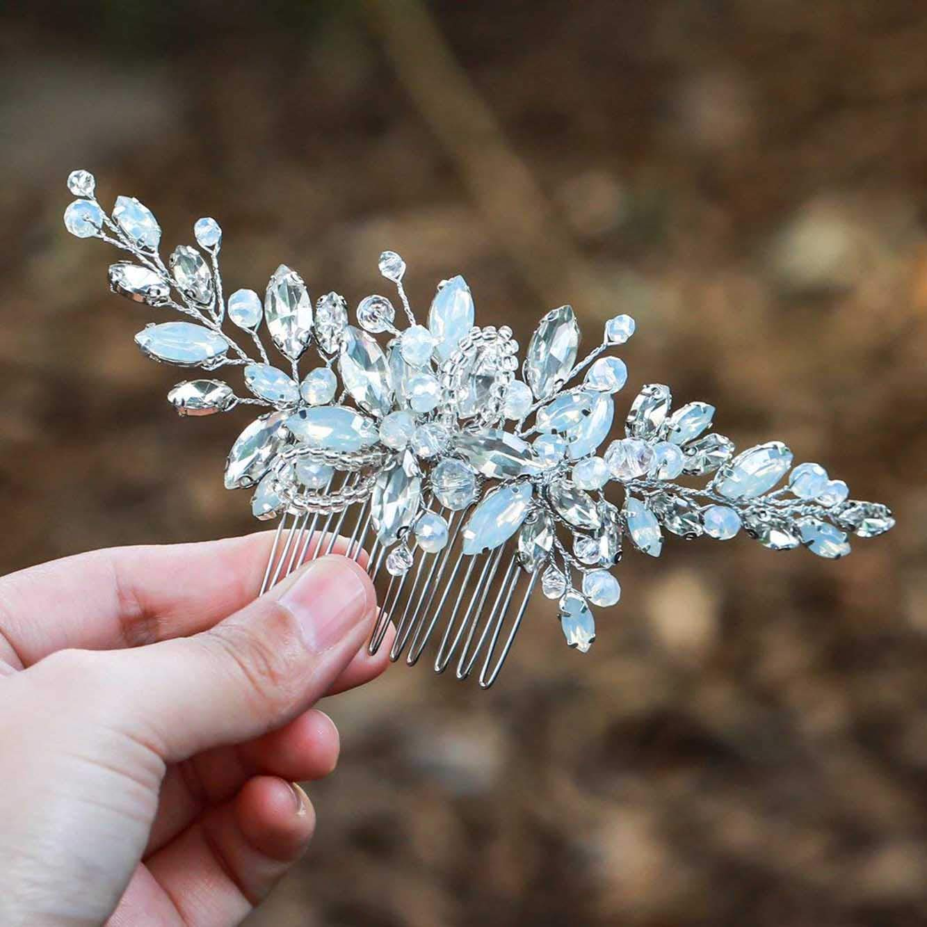 Unicra Wedding Ivory Crystal Hair Combs Wedding Bridal Hair Accessories for Brides and Bridesmaids (Silver)