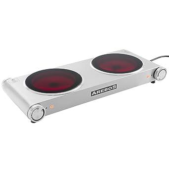 nouveau concept 8526e 62628 Arebos® Plaque de cuisson électrique en acier inox avec deux feux en  vitro-céramiques 2400 W