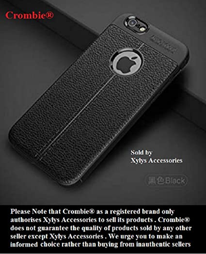 competitive price b6ee1 6862a CROMBIE Auto Focus Shock Proof Leathers Pattern Armor Soft Back Cover  Compatible with iPhone 6/6S (Black)