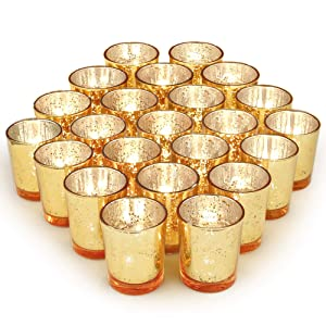 Volens Gold Votive Candle Holders, Mercury Glass Tealight Candle Holder Set of 72