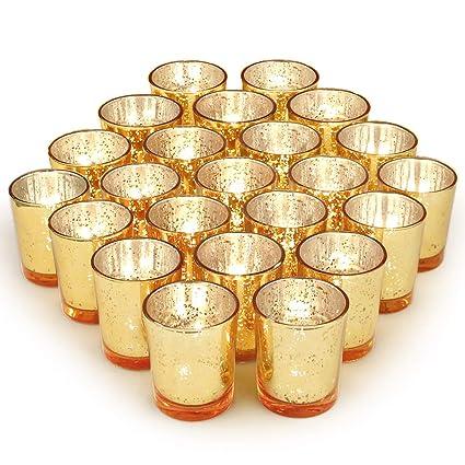 b5f775dc026d Amazon.com  Volens Gold Votive Candle Holders Bulk