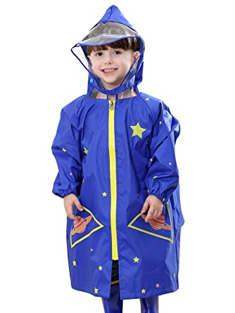 meilleures baskets eb4cc 1adc6 FEOYA - Unisexe Enfant Fille Garçon Poncho de Pluie Capuche avec Visière  Veste Anti-pluie Imperméable 2-10ans Bleu Jaune Rose