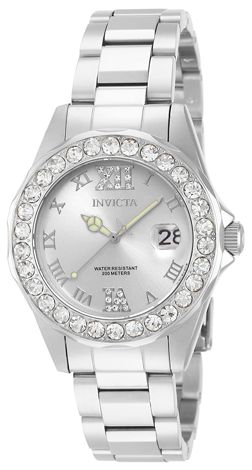 Amazon.com: Invicta Women's 15251 Pro Diver Silver Dial Crystal Accented  Stainless Steel Watch: Invicta: Watches