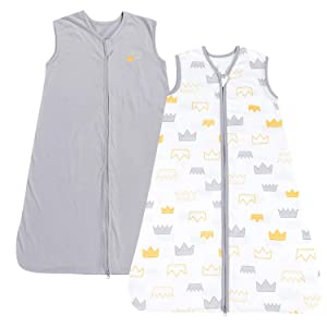 TILLYOU Large L Breathable Cotton Baby Wearable Blanket with 2-Way Zipper, Super Soft Lightweight 2-Pack Sleeveless Sleep Bag Sack for Boys, Fits Infants Newborns Age 12-18 Months, Gray Crown