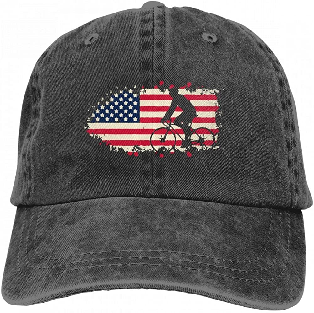 HM66-CAP American Flag with Bicycle Mens Womens Adjustable Denim Fabric Baseball Cap Dad Hat