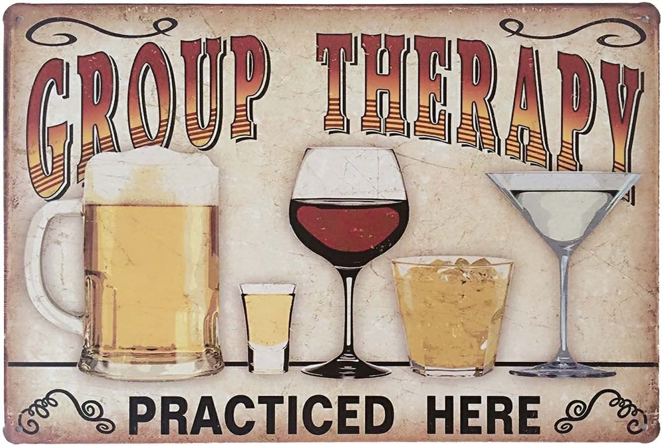 Amazon Com Erlood Retro Vintage Metal Tin Sign Wall Plaque Poster Cafe Bar Pub Beer Club Wall Home Decor Group Therapy Practiced Here 12 X 8 Inches Home Kitchen