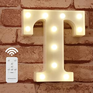 Pooqla LED Letter Lights Alphabet Light Up Marquee Letter Signs with Wireless Timer Remote Control Dimmable for Wedding Home Party Bar Decoration - RC - T