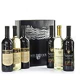 """scatola regalo"""" corte viola"""" con 3 bottiglie di vino sicilia"""